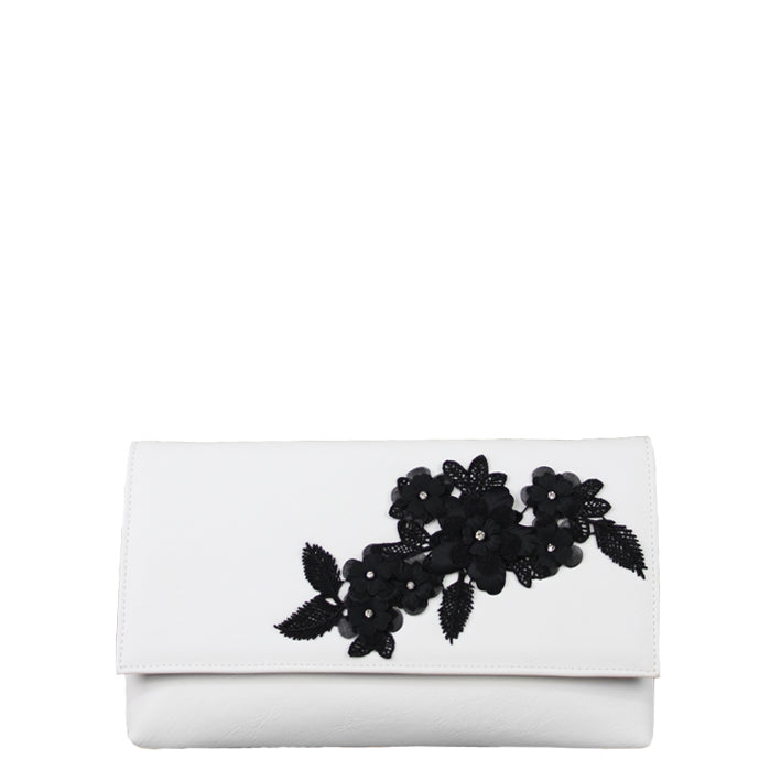 Jendi White Clutch with Black Flowers