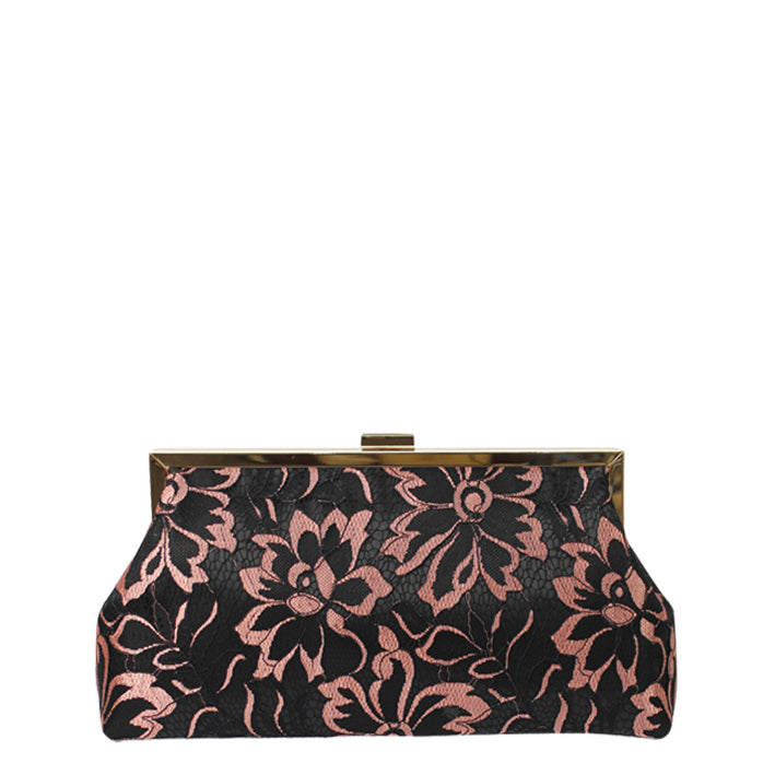Jendi Evening Rose Clutch in Black and Pink