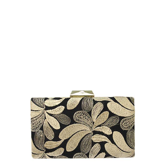 Jendi Miya Ebroidered Clutch in Black and Gold