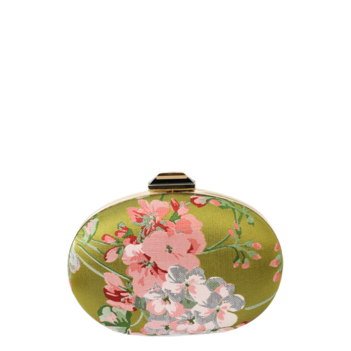 Jendi Samira Satin Clutch in Green and Pink