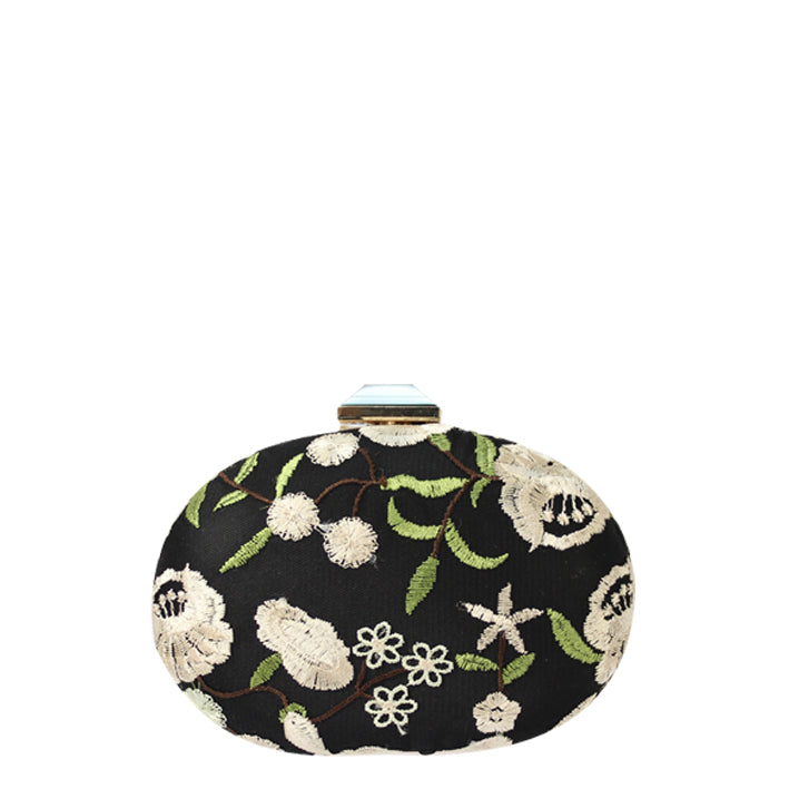 Jendi Brenna Clutch in Black with White and Green Embroidery