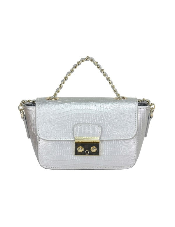 FredericT Bianca Crocodile Look Leather Handbag in Silver