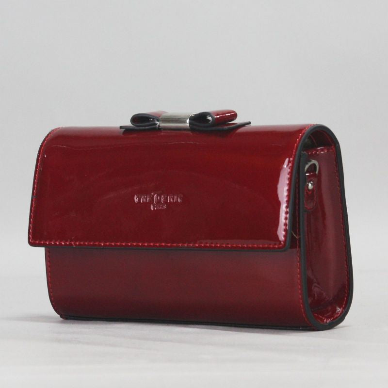 FredericT Ariana Patent Leather Clutch in Deep Red