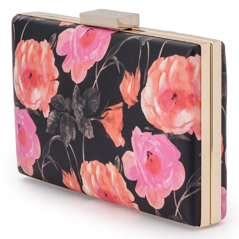 Olga Berg Melody Printed Clutch in Black Pink Orange