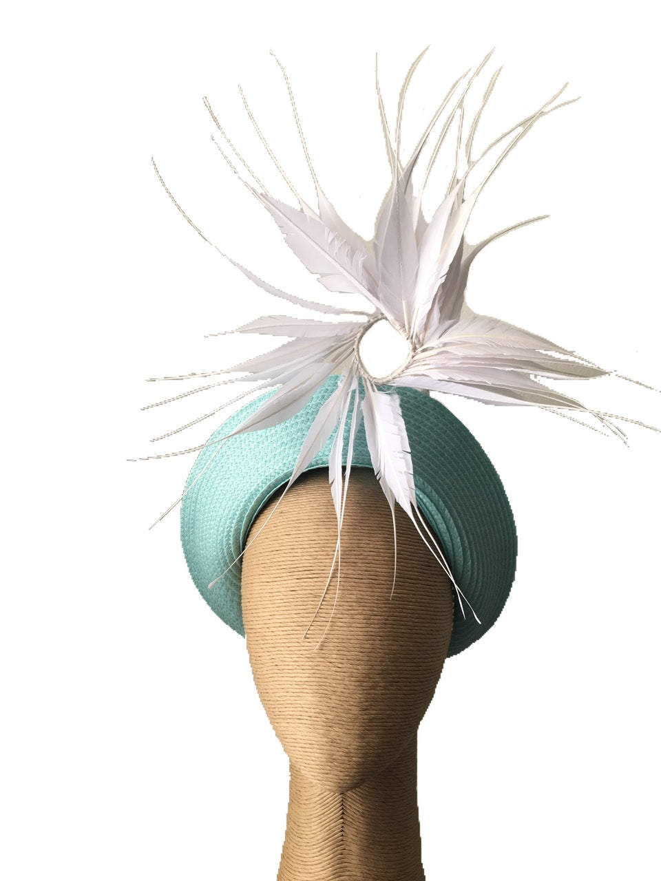 Claire Hahn Jamie Halo in Baby Blue with White Feather Detail