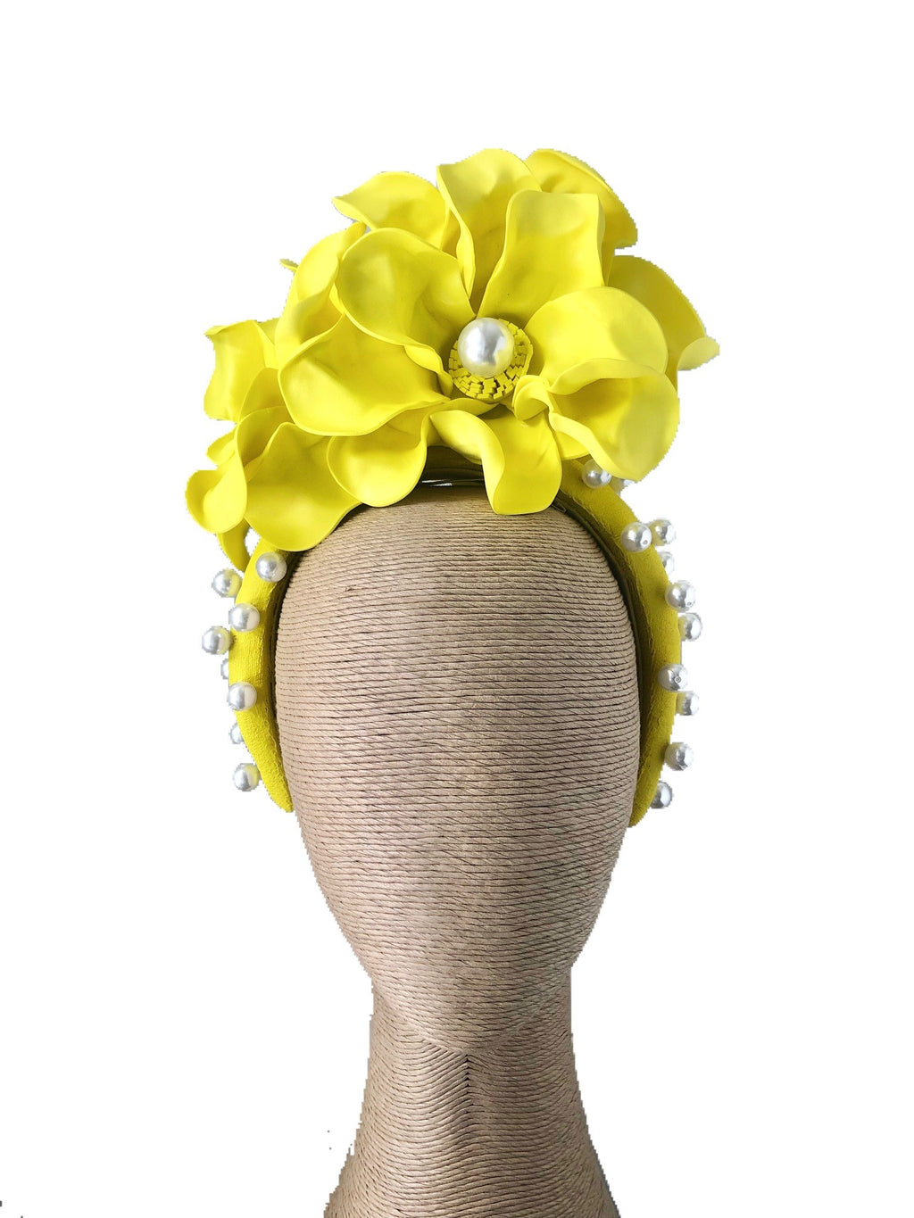 Claire Hahn Elysa Headband with Foam Flowers in Fluro Yellow