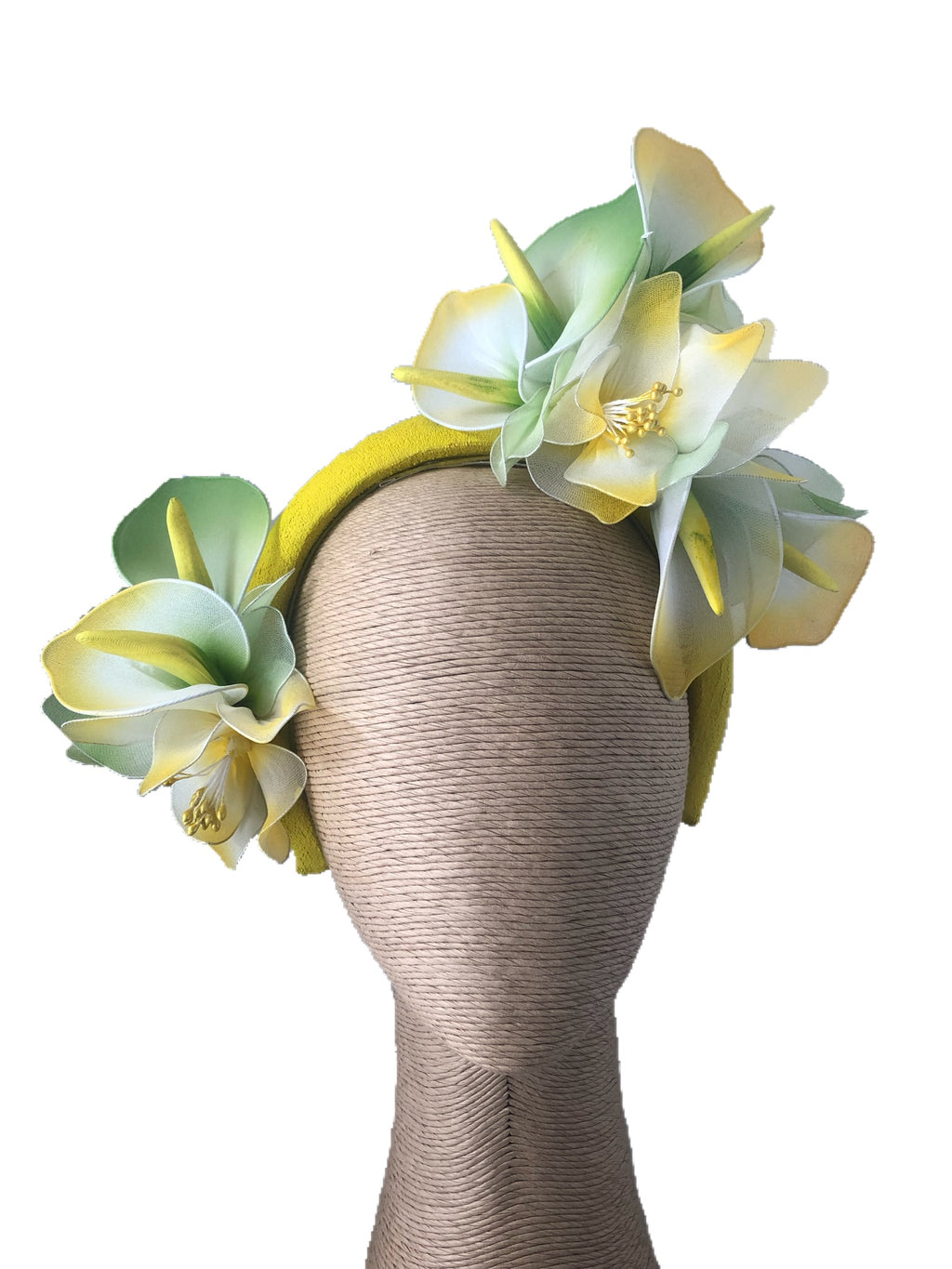 Claire Hahn Aoife Headband with Flowers in Yellow Green - DAMAGED