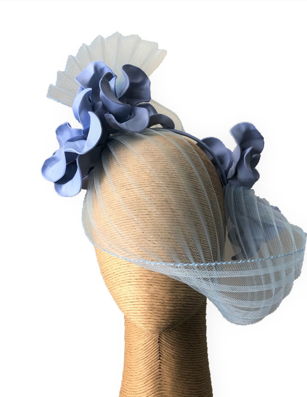 Claire Hahn Crinoline Mask Headpiece in Baby Blue