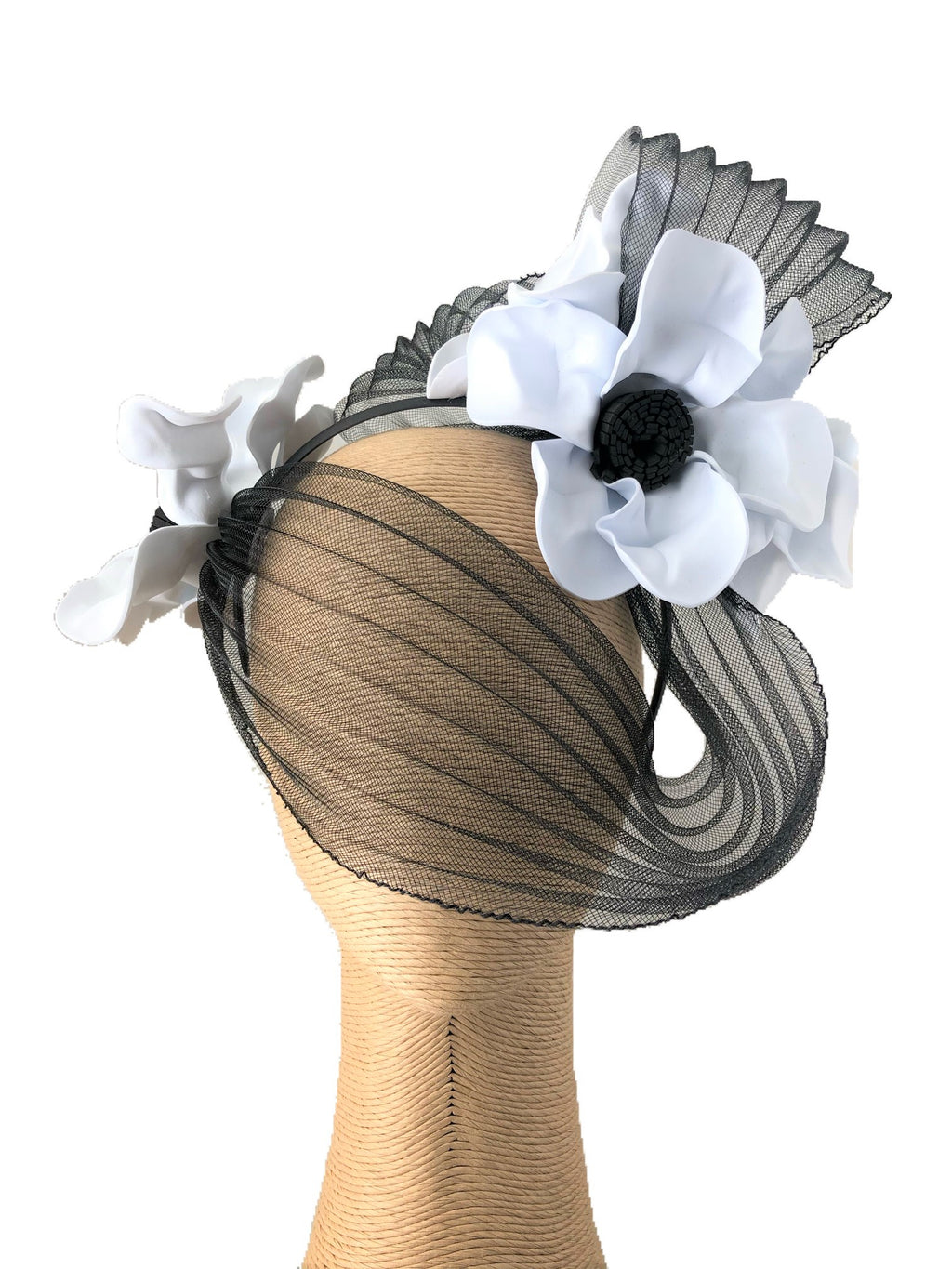 Claire Hahn Crinoline Mask Headpiece in Black & White