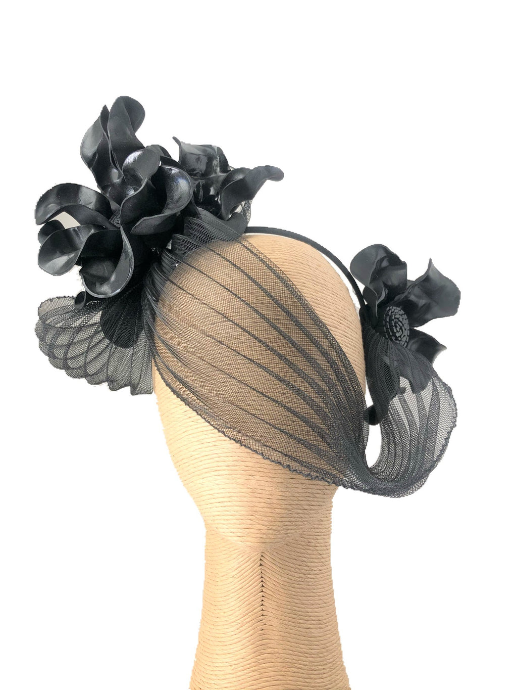 Claire Hahn Crinoline Mask Headpiece in Black