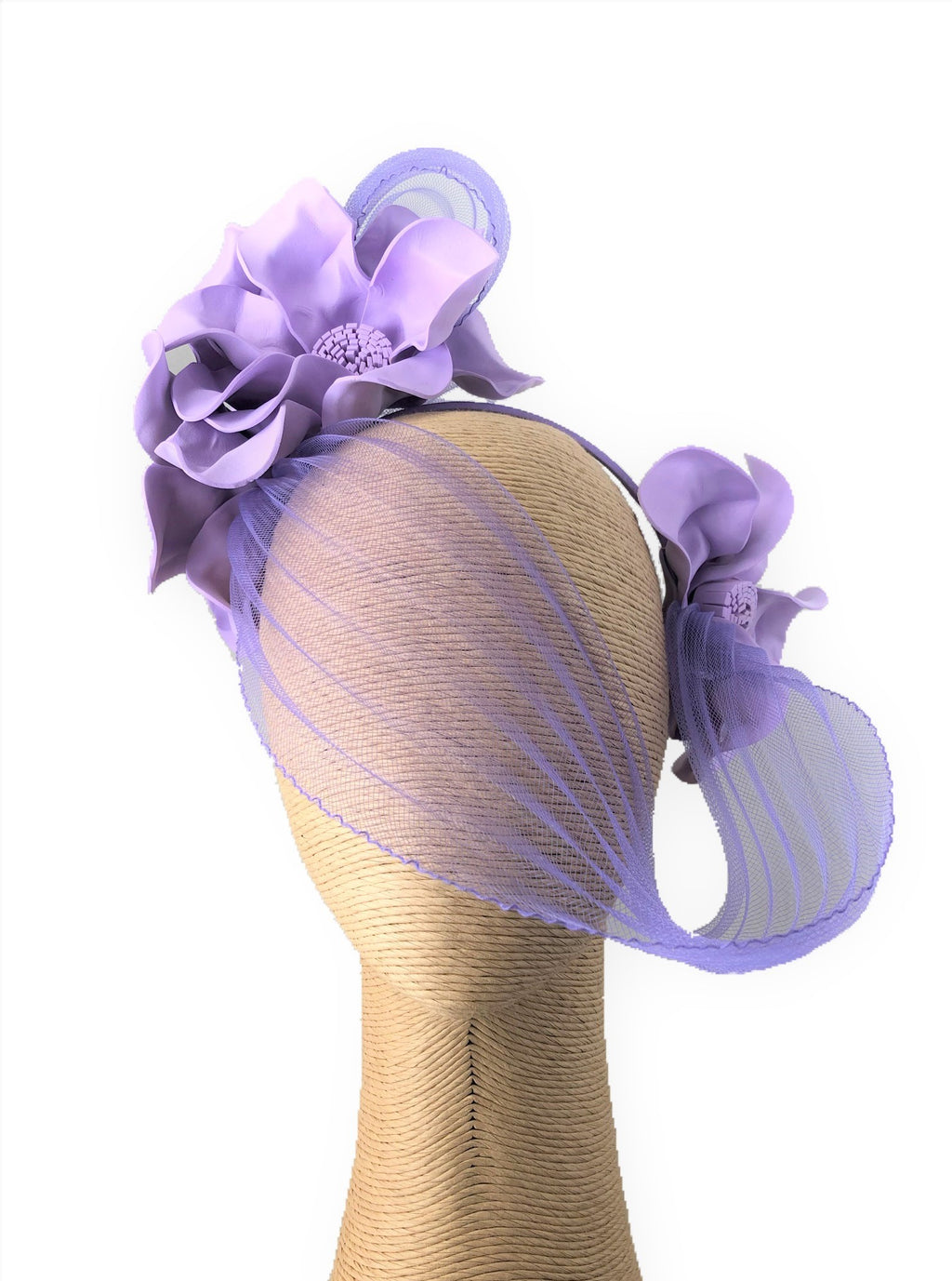 Claire Hahn Crinoline Mask Headpiece in Lavender