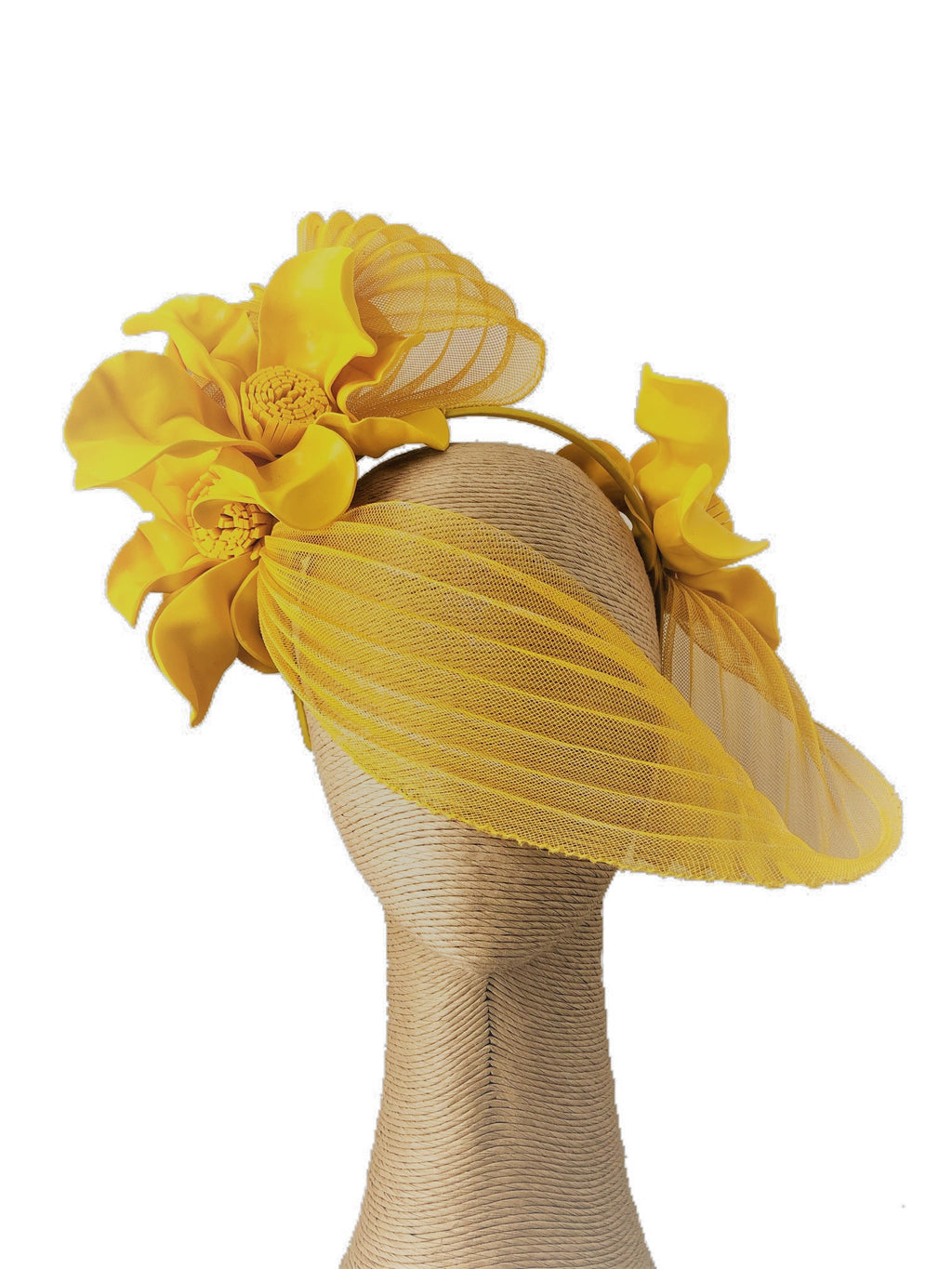 Claire Hahn Crinoline Mask Headpiece in Yellow