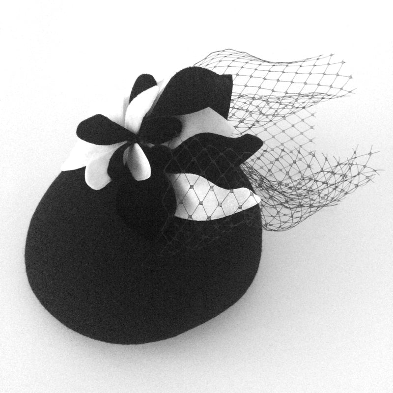 The Fillies Collection Black Felt Pillbox with B&W Petals