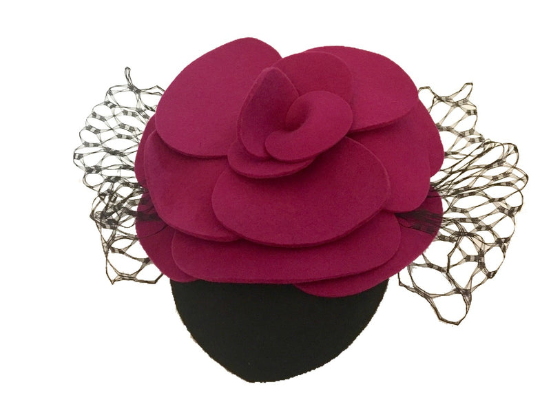 The Fillies Collection Black Felt Hat with Felt Fuchsia Flower and Veiling