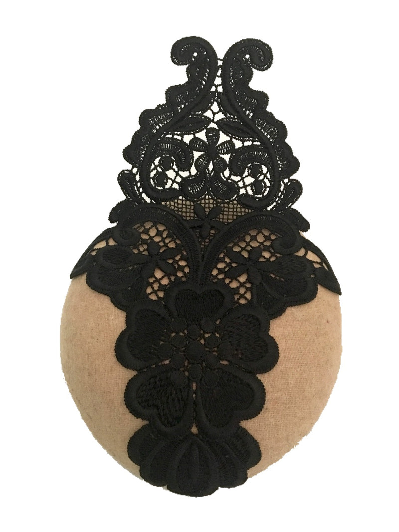 The Fillies Collection Beige Felt Pillbox Hat with Large Black Lace Trim