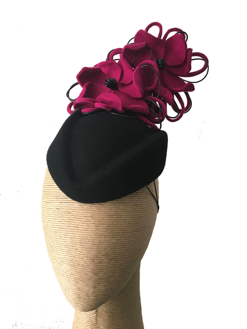The Fillies Collection Black Felt Pillbox Hat with Fuchsia Felt Flowers