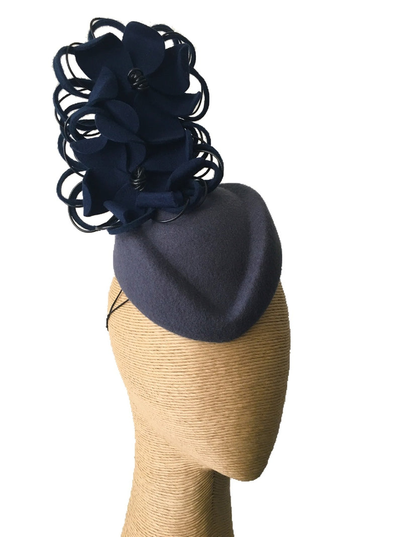 The Fillies Collection Grey Felt Pillbox Hat with Navy Felt Flowers