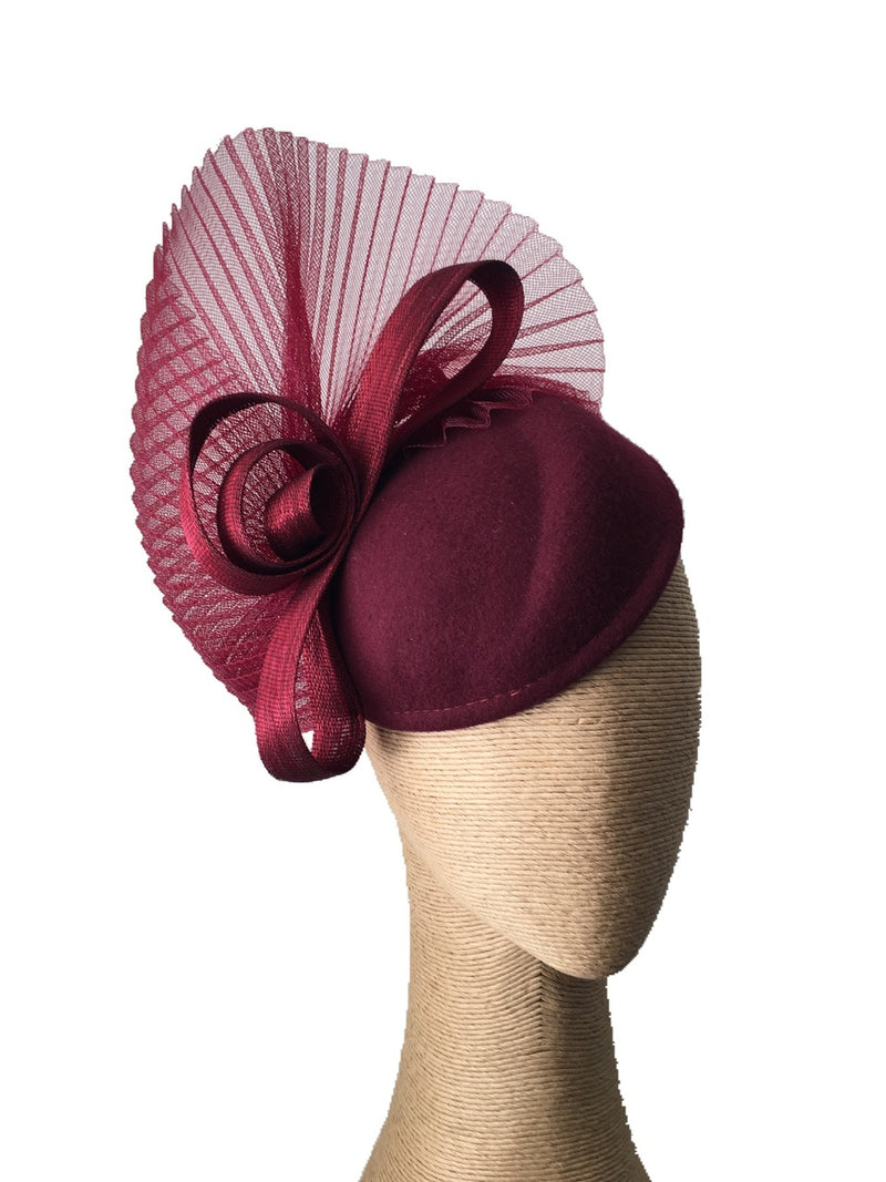 The Fillies Collection Wine Felt Hat with Pleated Crinoline