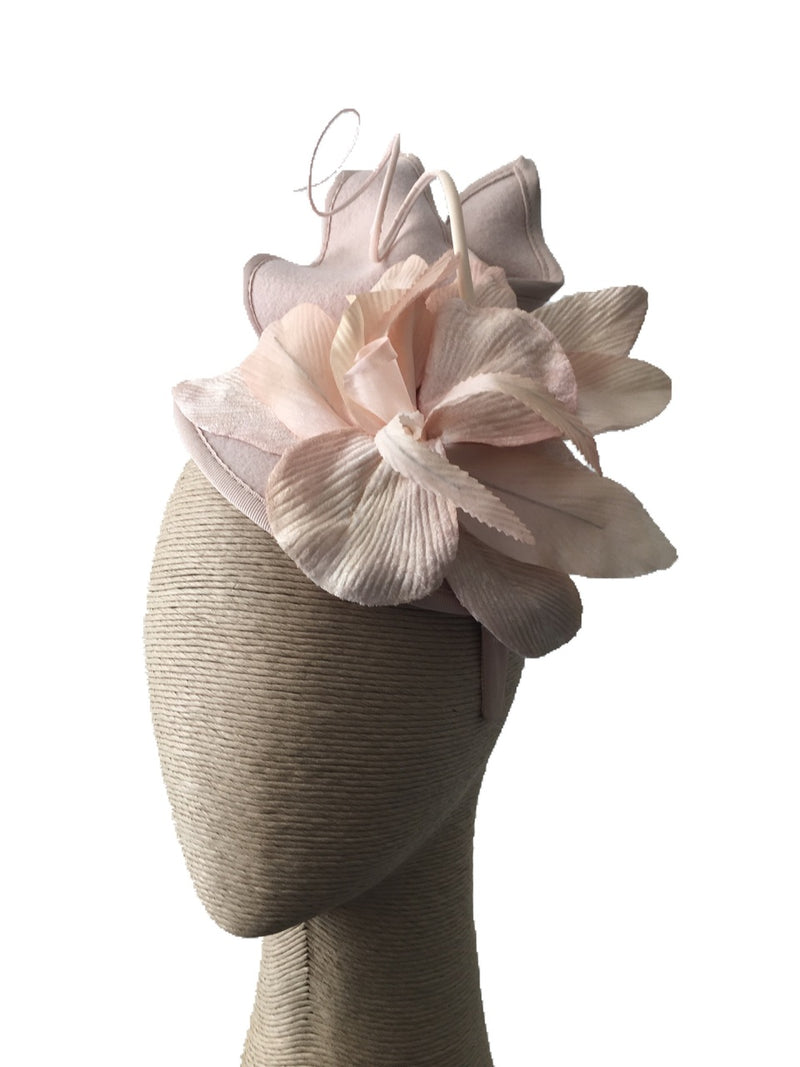 The Fillies Collection Beige Felt Hat with Velvet Flower on a Headband
