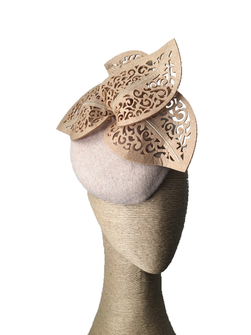 The Fillies Collection Beige Felt Hat with Cutout Leaves