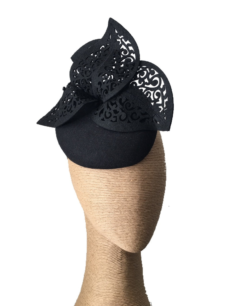 The Fillies Collection Black Felt Hat with Cutout Leaves