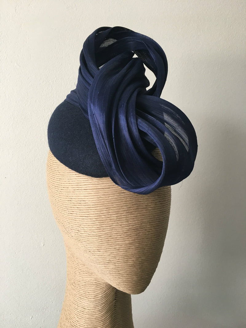 The Fillies Collection Navy Felt Hat with Navy Twisted Detail