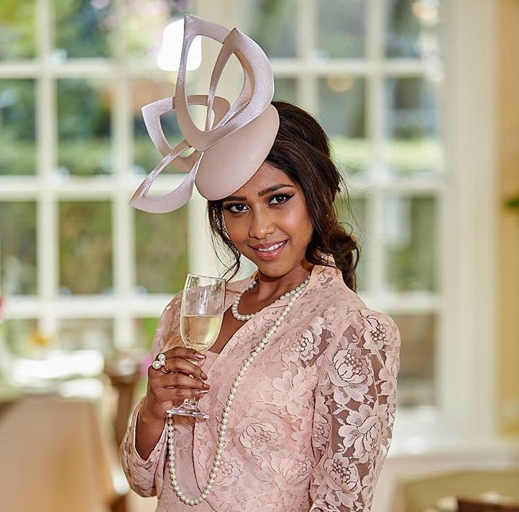 The Fillies Collection Opera Leather Hat in Nude & Navy