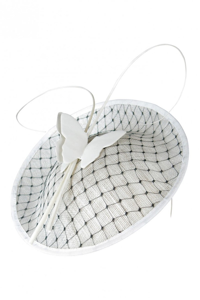 Morgan & Taylor Evelina White Fascinator with Butterfly