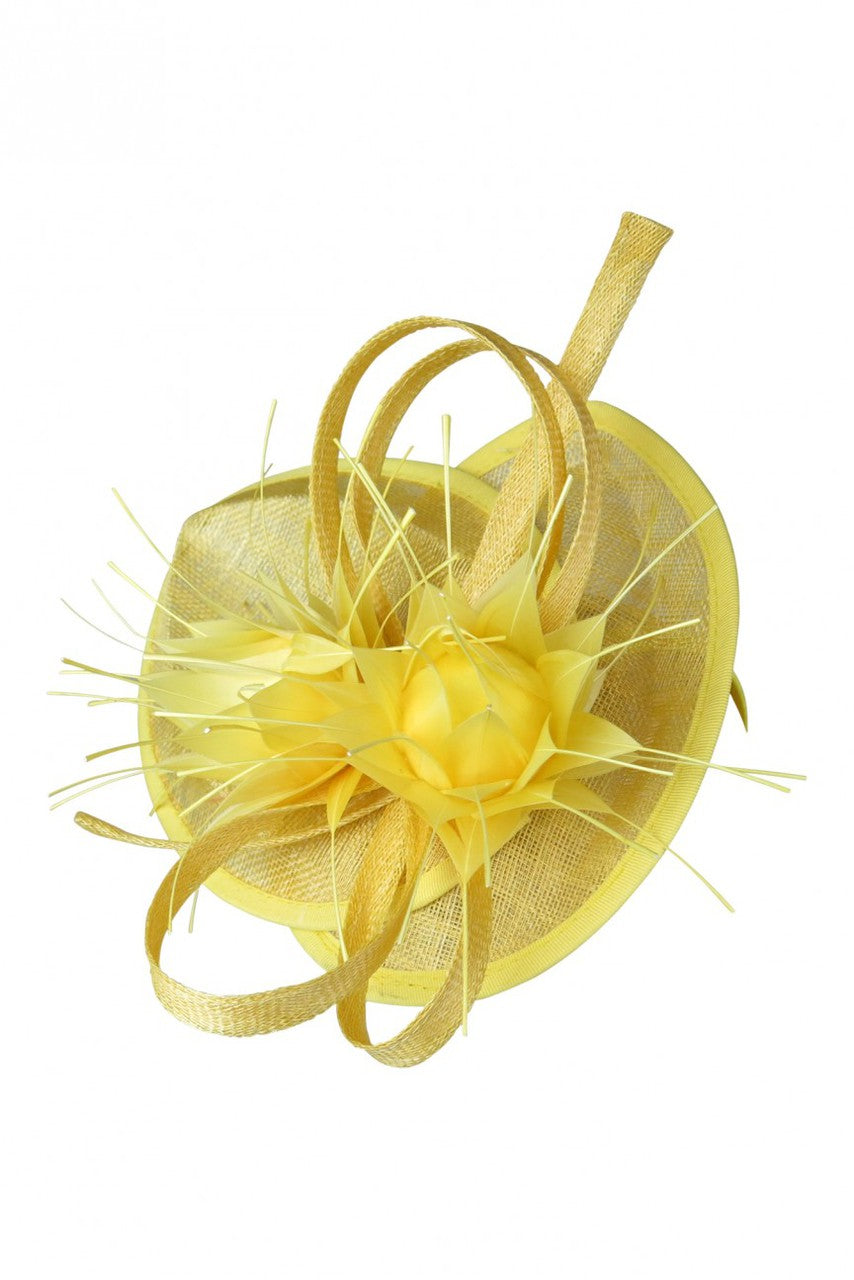 Morgan & Taylor Mika Fascinator with Spiky Feather Flowers in Yellow