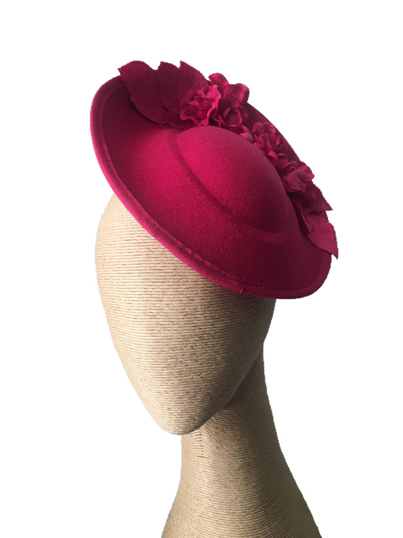 The Fillies Collection Pria Side Felt Hat in Fuchsia with Fuchsia Flowers