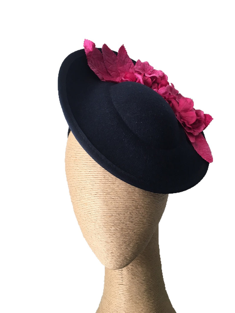 The Fillies Collection Pria Side Felt Hat in Navy with Fuchsia Flowers