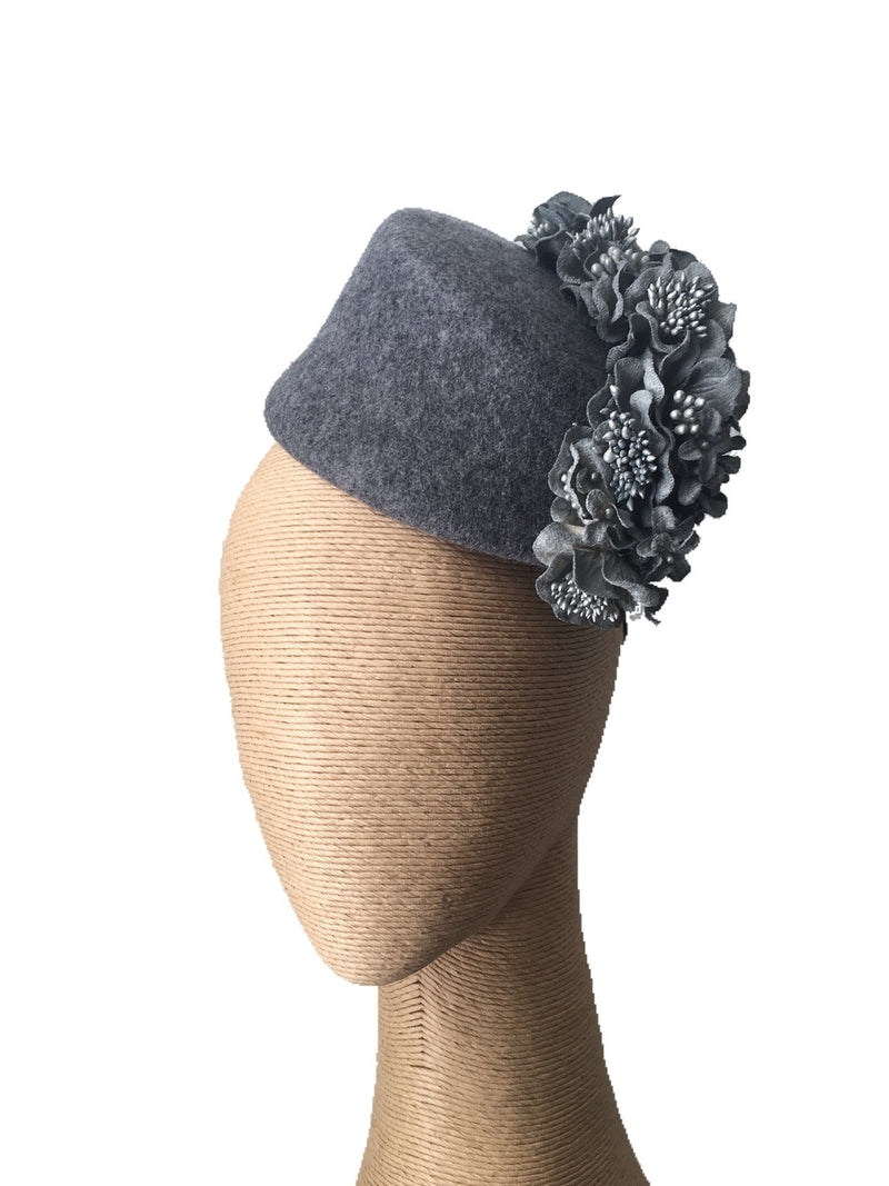 The Fillies Collection Fez Felt Hat in Grey with Silver Flowers
