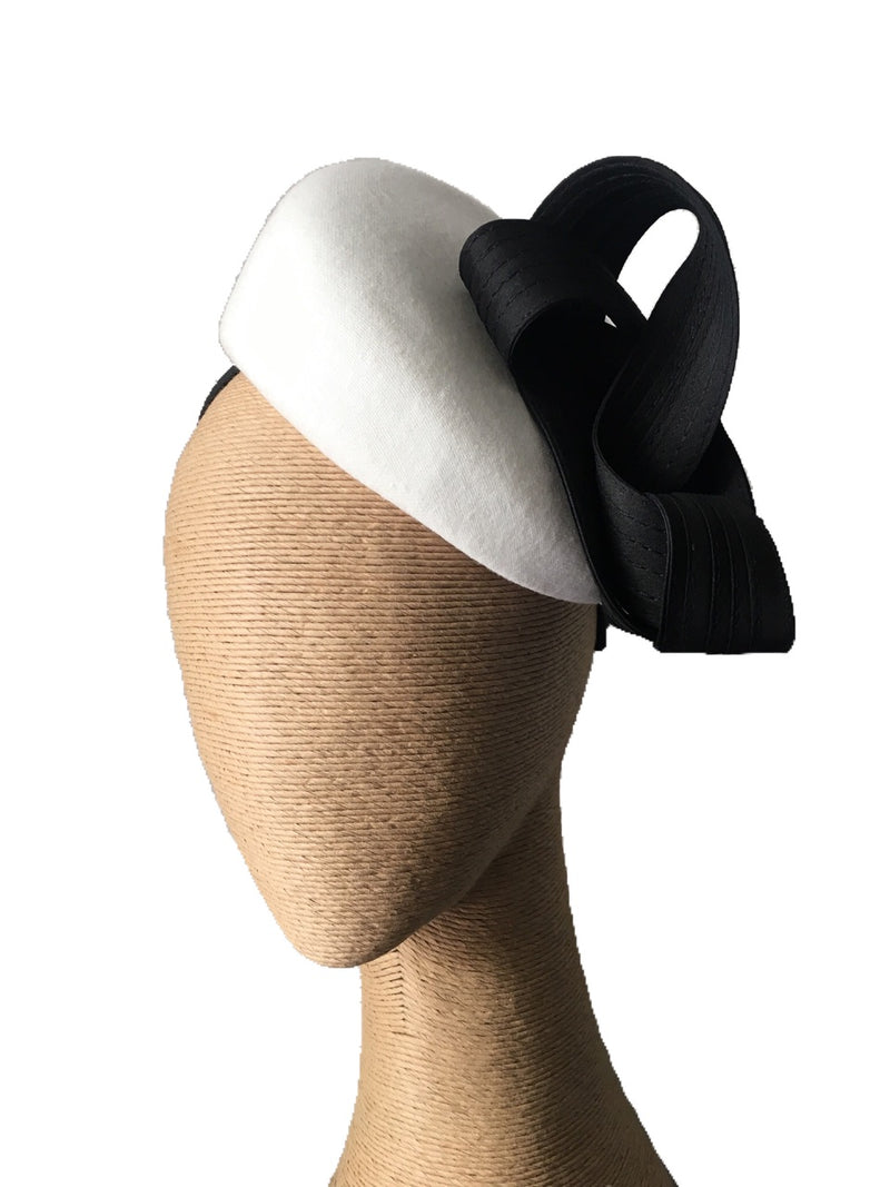 The Fillies Collection Miranda Felt Hat in Cream with Black Loops