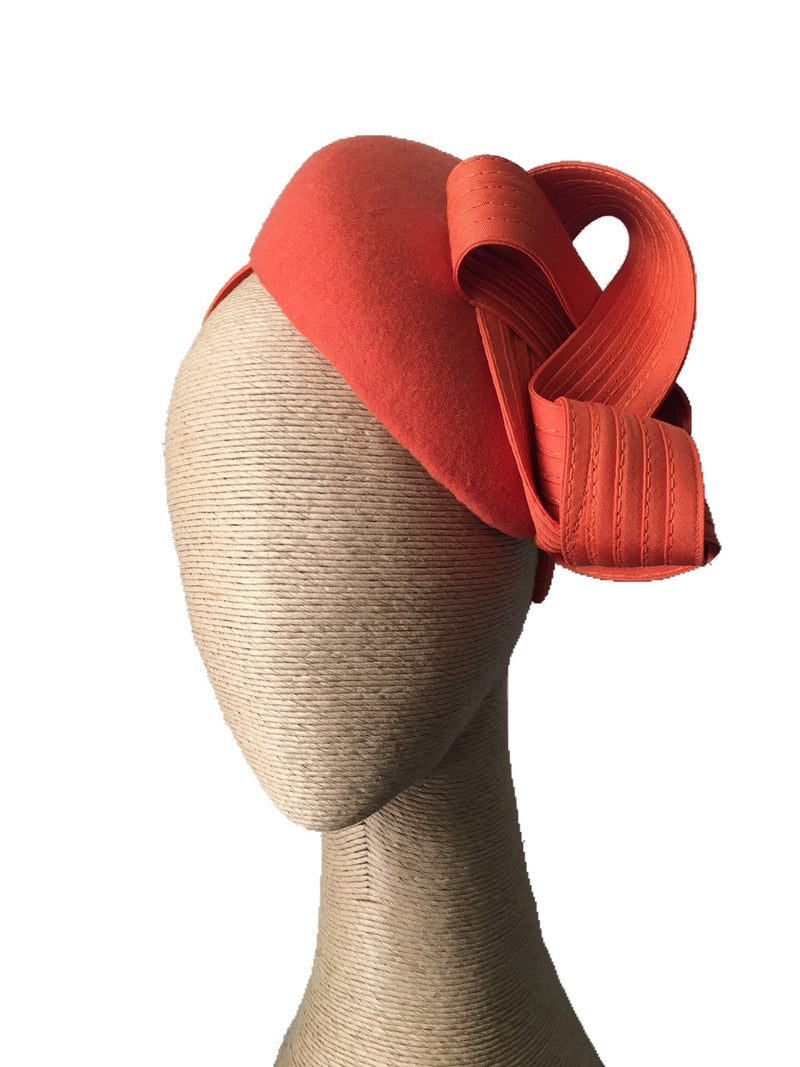 The Fillies Collection Miranda Felt Hat in Orange with Loops