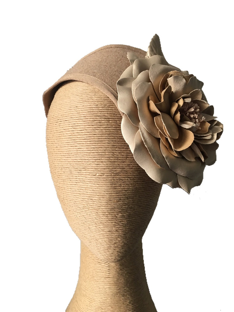 The Fillies Collection Felt Headpiece in Beige with Gold Flower