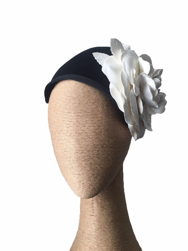 The Fillies Collection Felt Headpiece in Black with Cream Flower