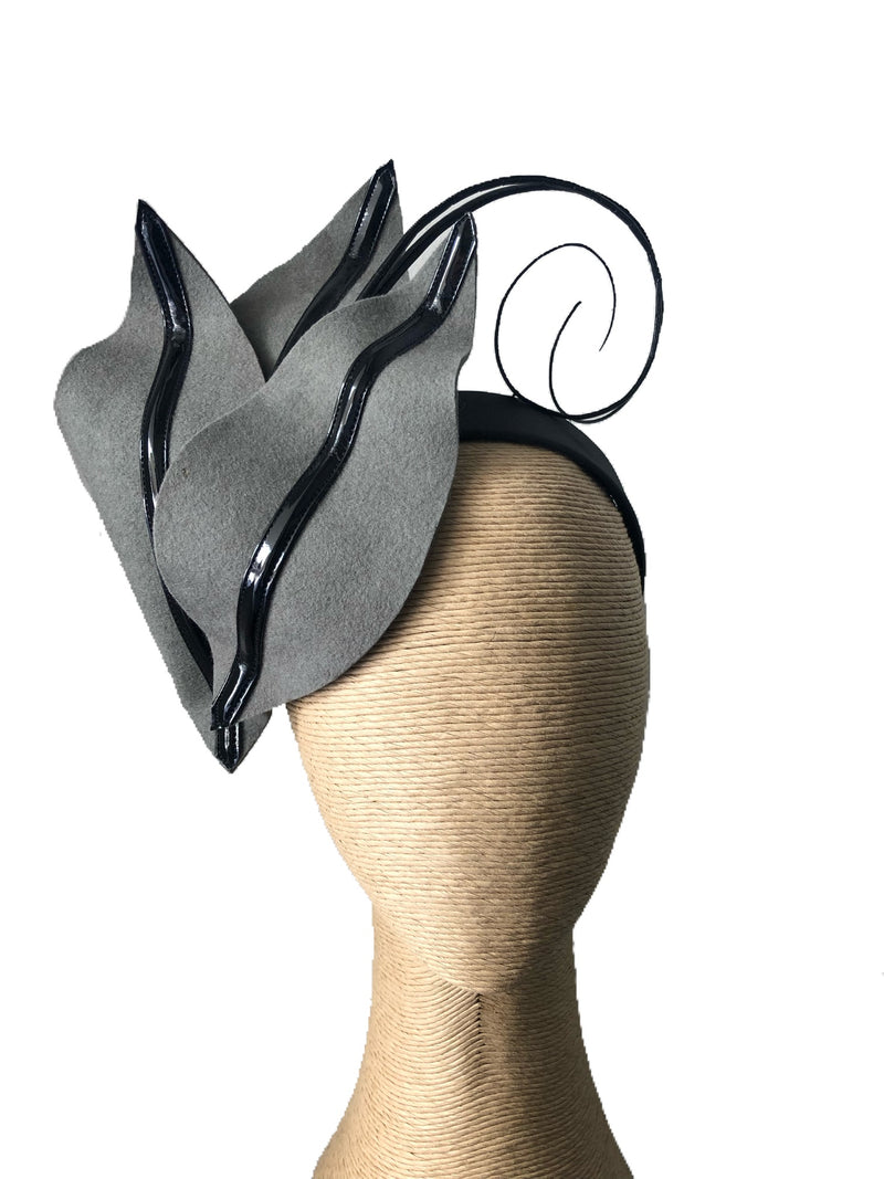The Fillies Collection Sophie Felt Headpiece in Grey & Black