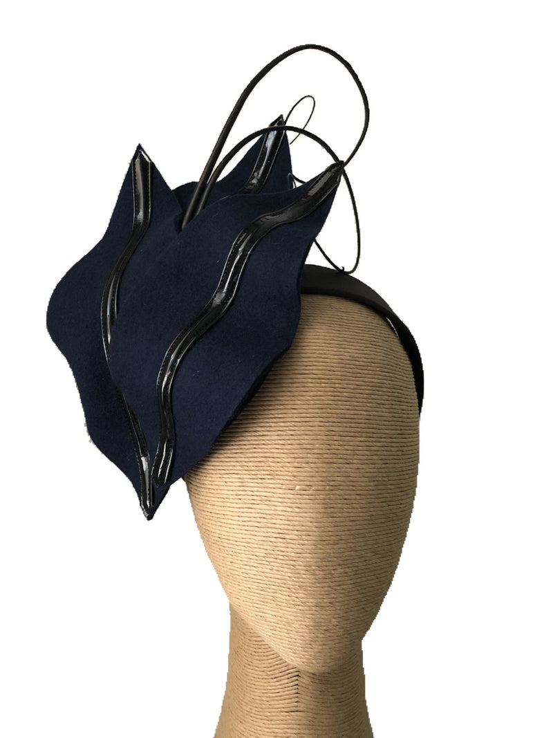 The Fillies Collection Sophie Felt Headpiece in Navy & Black