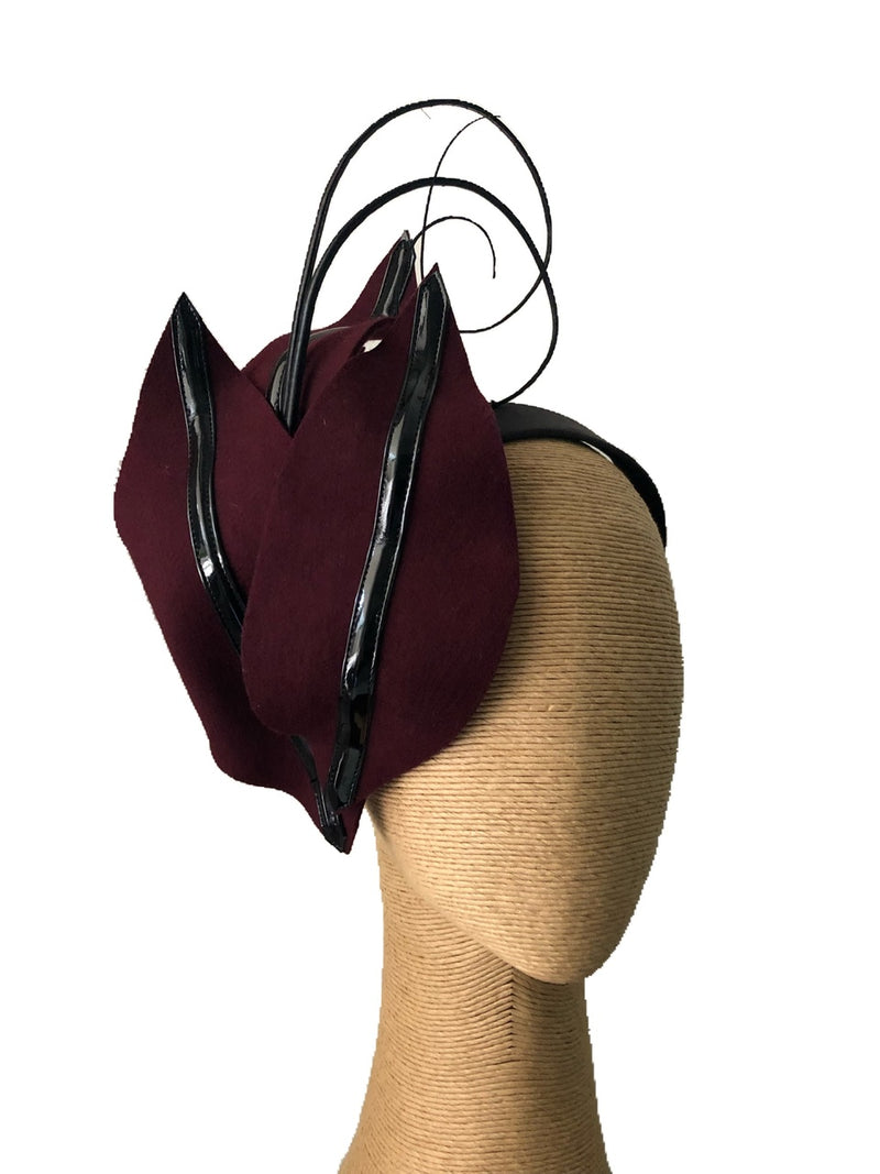 The Fillies Collection Sophie Felt Headpiece in Wine & Black
