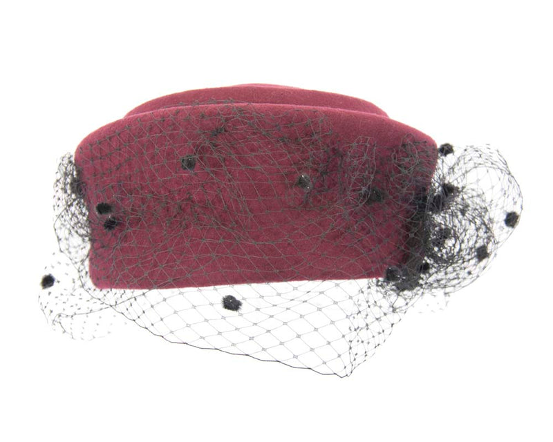 The Fillies Collection Eliza Wine Felt Hat with Netting