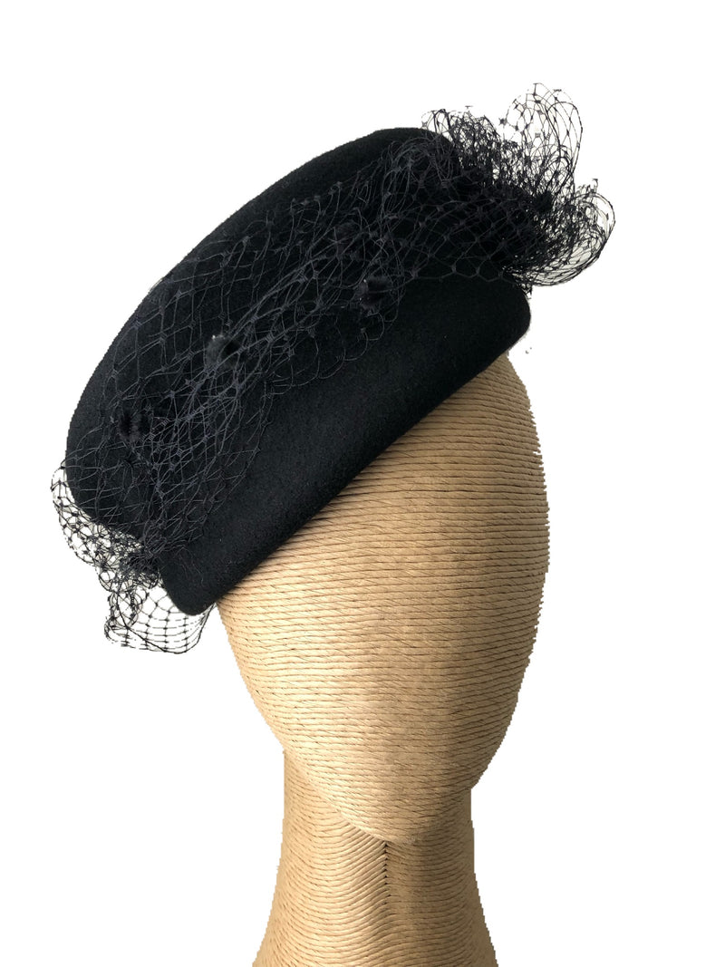 The Fillies Collection Eliza Black Felt Hat with Netting