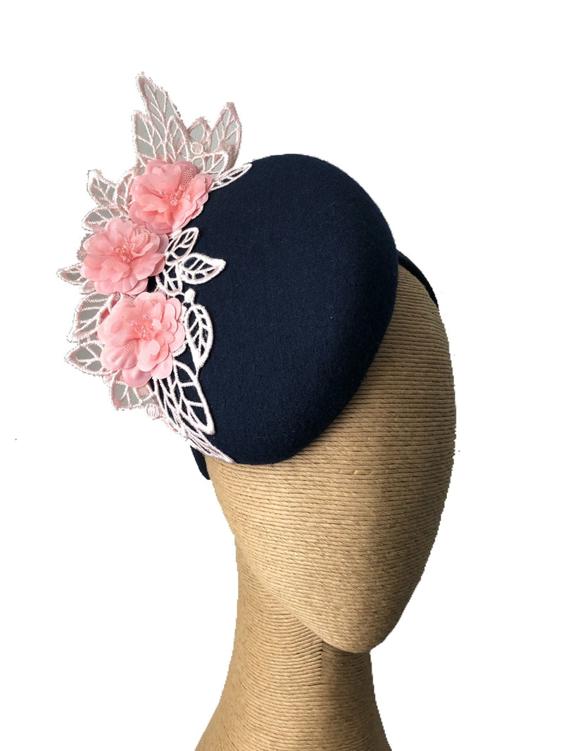 The Fillies Collection Rachael Navy Hat with Pink Lace Detail