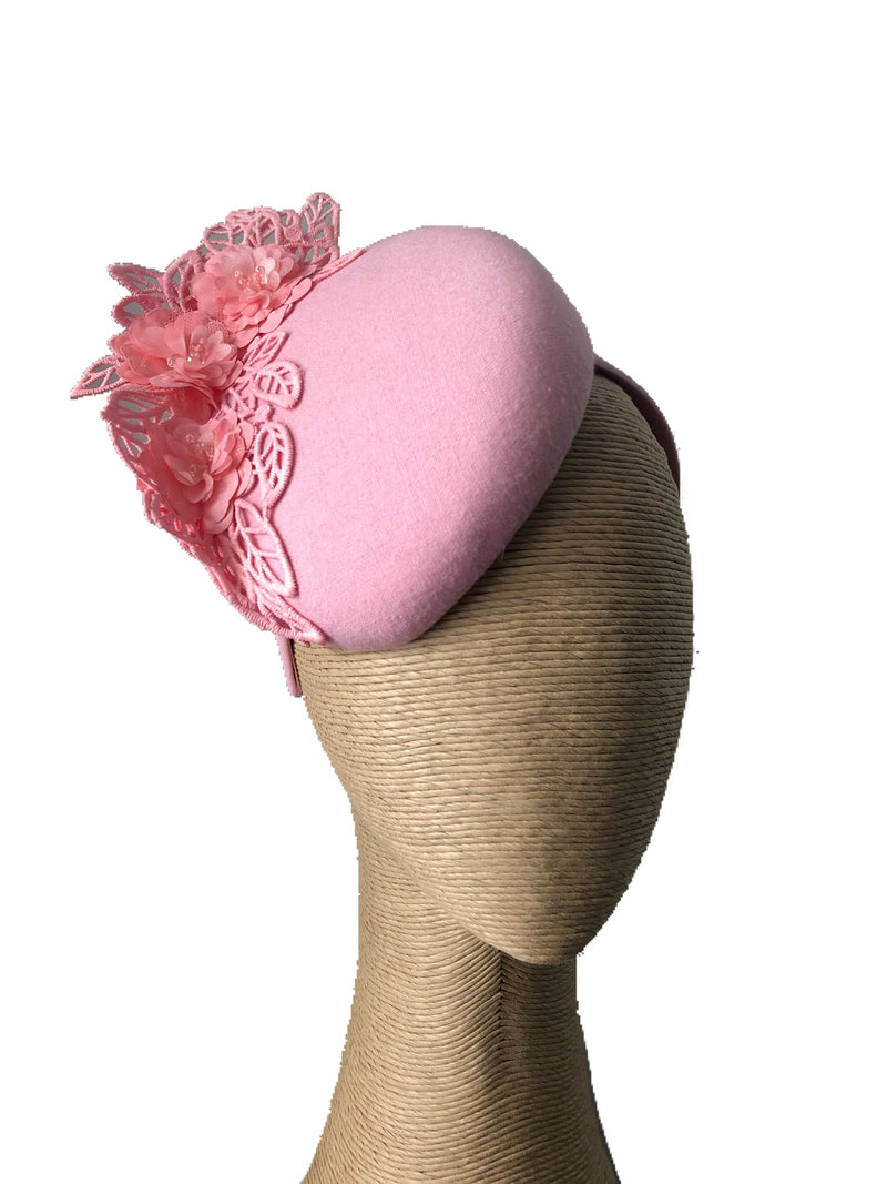 The Fillies Collection Rachael Pink Hat with Pink Lace Detail