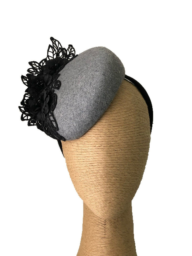 The Fillies Collection Rachael Silver Hat with Black Lace Detail