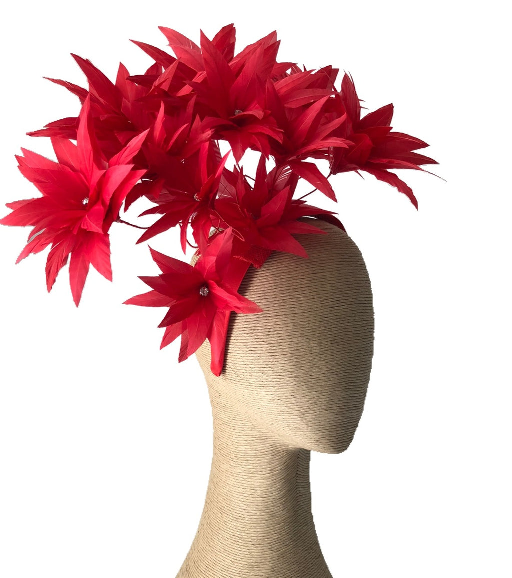 Fiona Powell Luna Feather Headpiece in Red