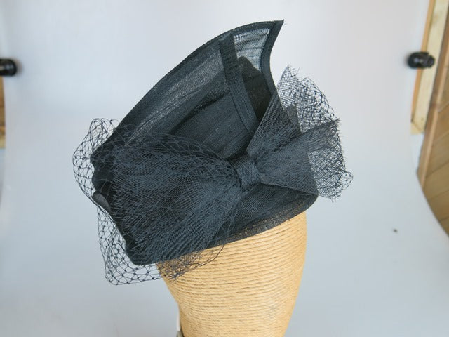 Fiona Powell Jackie Sinamay Hat with Veiling in Black