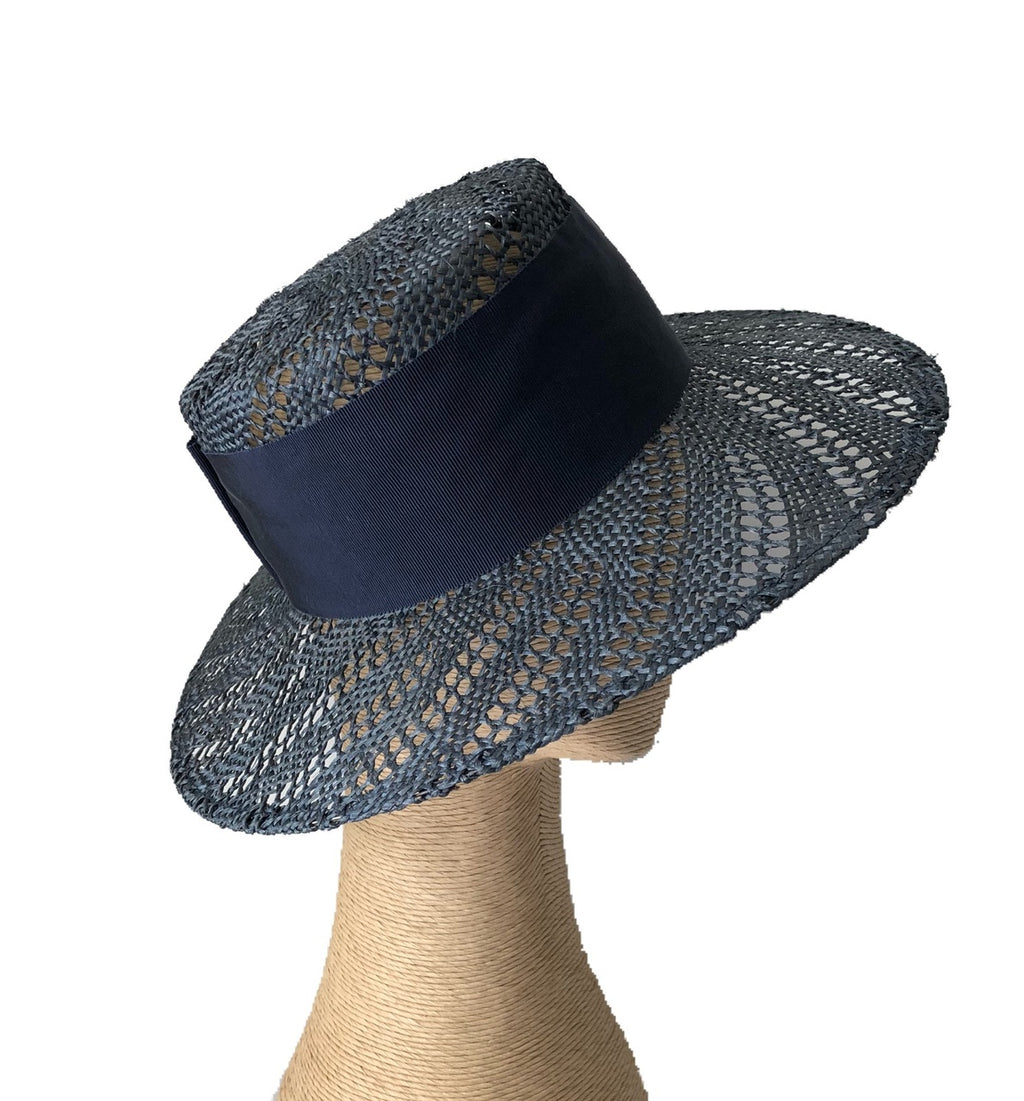 Fiona Powell Ava Holey Boater Hat in Navy