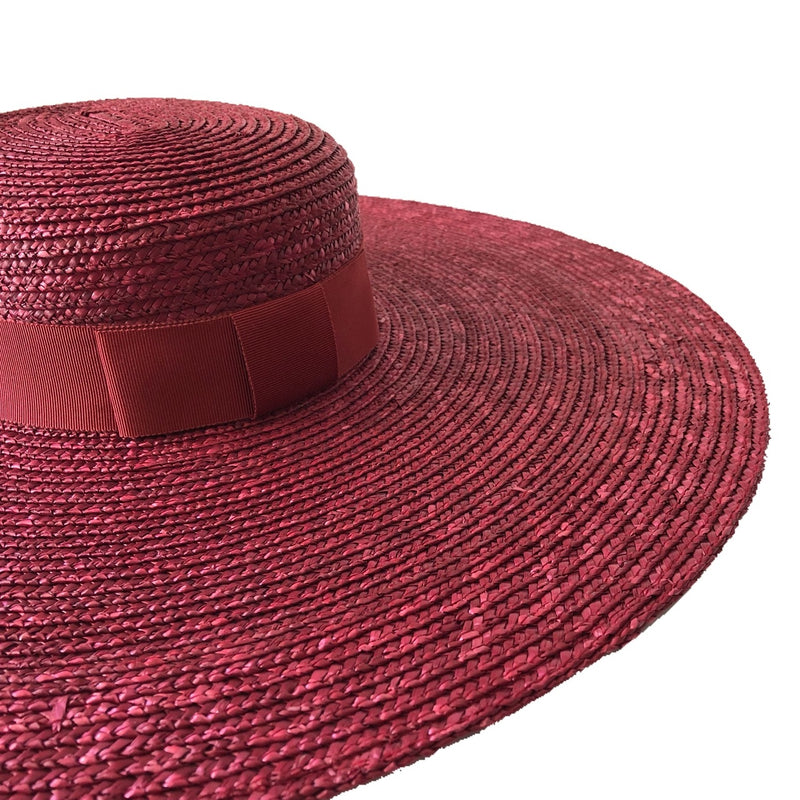 Fiona Powell Eva Large Straw Boater Hat with Side Ties in Burgundy