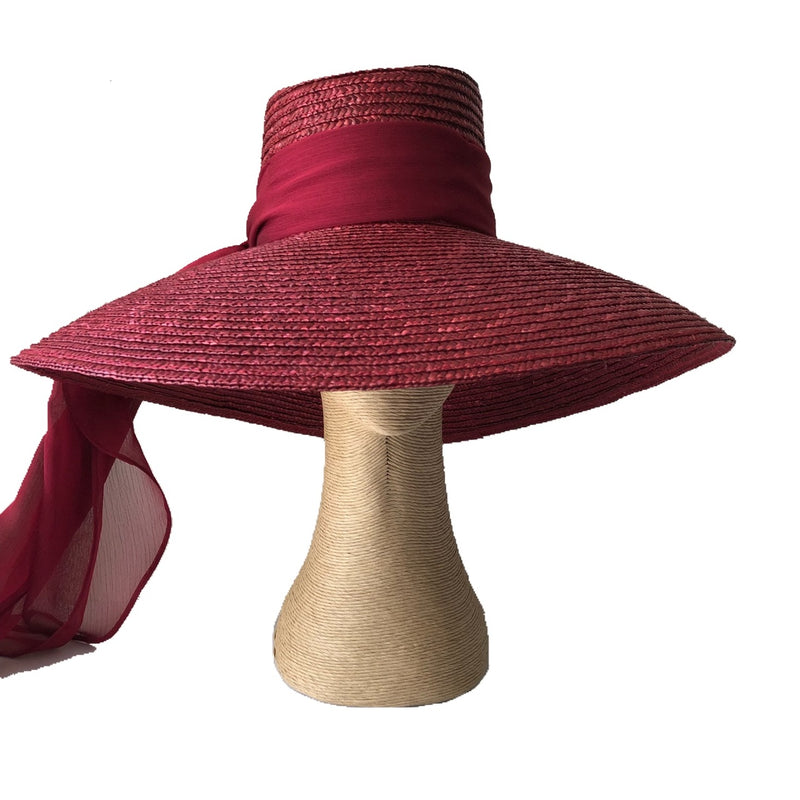 Fiona Powell Brigitte Large Fedora Hat in  Burgundy with Chiffon Scarf