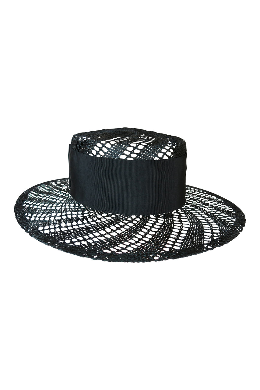 Fiona Powell Ava Holey Boater Hat in Black